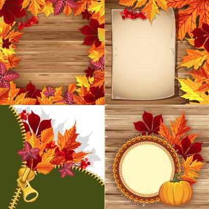 紅葉,もみじ,かぼちゃ,ファスナー,フレーム飾り,背景イメージ ベクターイラスト素材