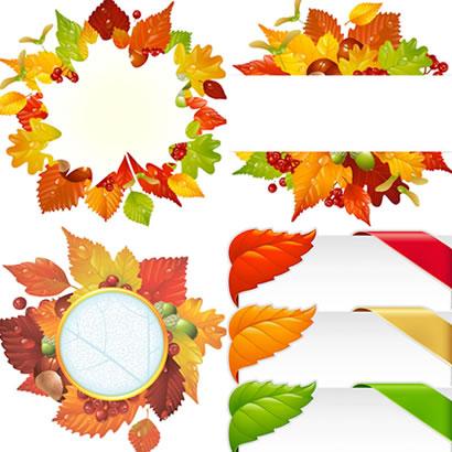 紅葉,葉っぱ,フレーム飾り ベクターイラスト素材