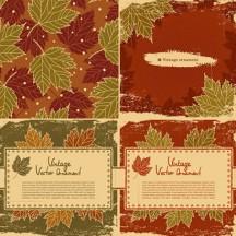 紅葉,葉っぱ,フレーム飾り,背景イメージ,ヴィンテージ ベクターイラスト素材