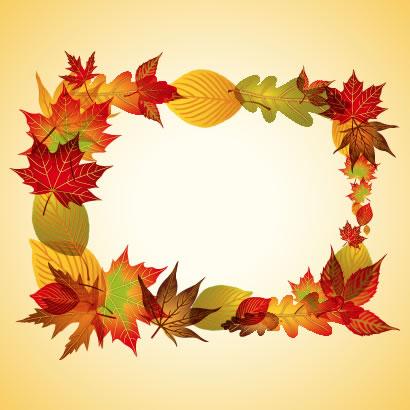 紅葉,葉っぱ,フレーム飾り,コラージュ ベクターイラスト素材