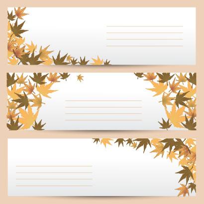 秋の紅葉,もみじ,バナー ベクターイラスト素材