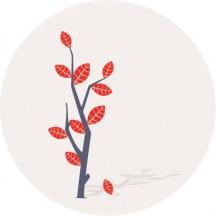 秋の木,紅葉,枯れ木 ベクターイラスト素材