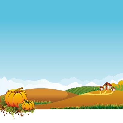 秋の風景,かぼちゃ,田舎背景イメージ ベクターイラスト素材