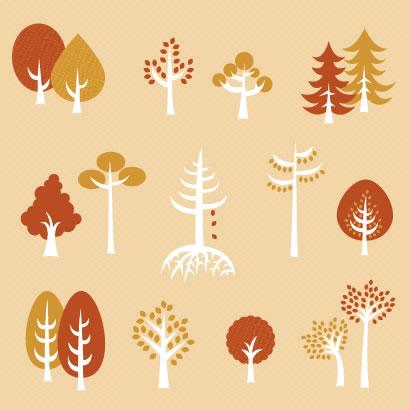 秋の木,アイコン ベクターイラスト素材