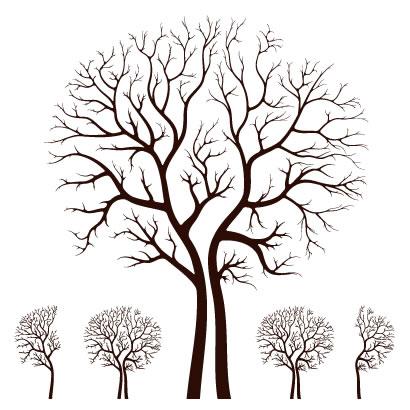 秋冬の枯れ木 シルエット ベクターイラスト素材