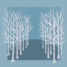 秋冬の白い枯れ木 手描き風 シルエット ベクターイラスト素材