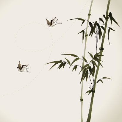 竹,鳥,水墨画,背景イメージ ベクターイラスト素材