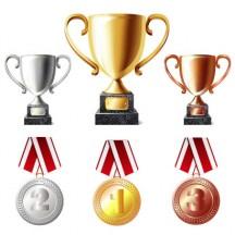 トロフィー,優勝カップ,金銀銅メダル ベクターイラスト素材