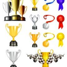 トロフィー,優勝カップ,金銀銅メダル,チェッカーフラッグ ベクターイラスト素材