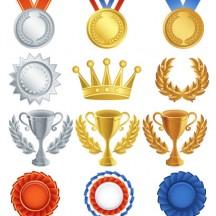 トロフィー,優勝カップ,金銀銅メダル,王冠,月桂冠,賞バッジ ベクターイラスト素材