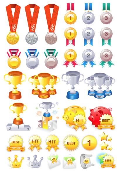 金銀銅メダル,トロフィー,優勝カップ,表彰台,豚の貯金箱,王冠 ベクターイラスト素材