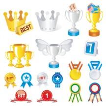 金銀メダル,トロフィー,優勝カップ,王冠,賞バッジ ベクターイラスト素材