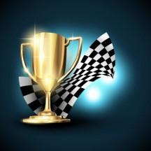 トロフィー,優勝カップ,チェッカーフラッグ,背景イメージ ベクターイラスト素材