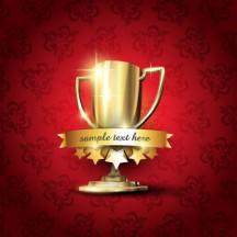 トロフィー,優勝カップ,リボンフレーム,背景イメージ ベクターイラスト素材