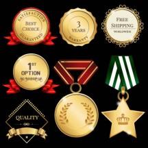 金メダル,ラベル,リボン ベクターイラスト素材