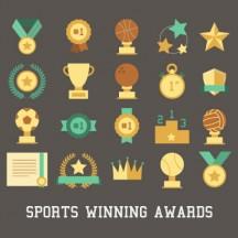 スポーツアイコン,金メダル,トロフィー,優勝カップ,王冠,バスケットボール,サッカーボール,バレーボール,野球ボール,表彰台 ベクターイラスト素材