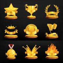金メダル,トロフィー,優勝カップ,月桂冠,旗,火炎,王冠,リボン,星 ベクターイラスト素材
