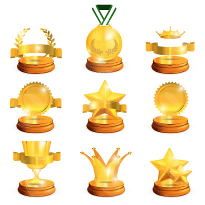 金メダル,トロフィー,優勝カップ,月桂冠,王冠,リボン,星 ベクターイラスト素材