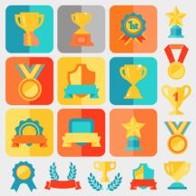 金メダル,トロフィー,優勝カップ,星,リボン,月桂冠,アイコン ベクターイラスト素材