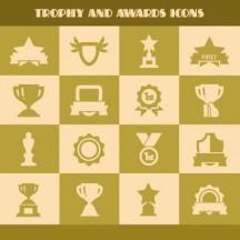 トロフィー,優勝カップ,金メダル,星,リボン,アイコン,シルエット ベクターイラスト素材