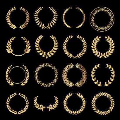 月桂冠,リース,金色,ゴールド ベクターイラスト素材