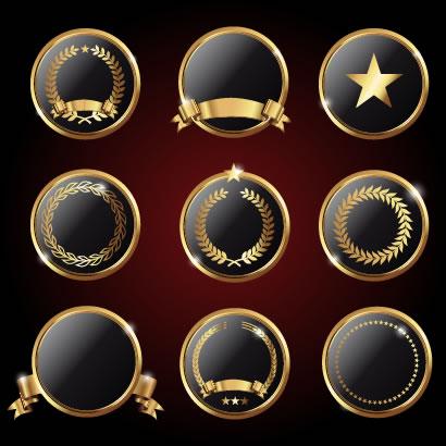 月桂冠,リース,リボン,金色,ゴールド,ラベル,金縁フレーム枠 ベクターイラスト素材