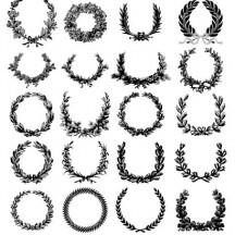 月桂冠,リース,手描き風 ベクターイラスト素材