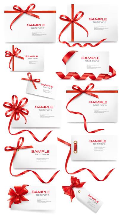 赤いリボンフレーム,タグ,カードデザイン ベクターイラスト素材