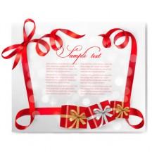 赤いリボンフレーム,プレゼント,クリスマス背景 ベクターイラスト素材