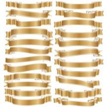 リボン飾り枠フレーム,金色,ゴールド ベクターイラスト素材