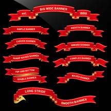 リボン飾り枠フレーム,赤色,横長,2段 ベクターイラスト素材