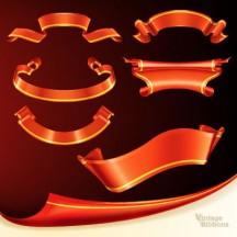 リボン飾り枠フレーム,赤色,めくれた紙 ベクターイラスト素材