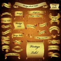 リボン飾り枠フレーム,金色,ゴールド,ヴィンテージ風 ベクターイラスト素材