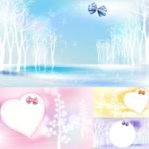 冬の景色,枯れ木,リボン,背景イメージ ベクターイラスト素材