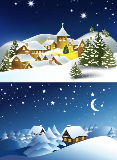 冬の雪景色,家,夜空,クリスマス背景イメージ ベクターイラスト素材