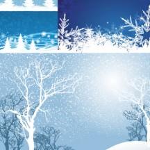 冬の雪景色,枯れ木,もみの木,雪の結晶,背景イメージ ベクターイラスト素材