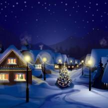 冬の雪景色,町並み,家,夜空,クリスマスツリー,クリスマス背景イメージ ベクターイラスト素材