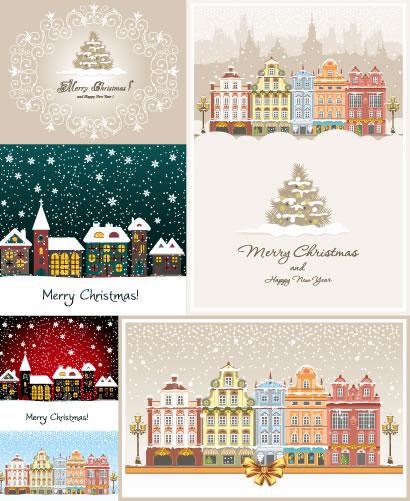 冬の雪景色,町並み,家,建物,クリスマスツリー,飾り罫線,フレーム枠,リボン,ホワイトクリスマス背景イメージ ベクターイラスト素材