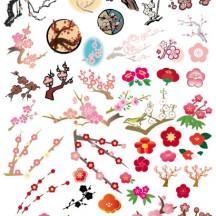 梅の木,梅の花,ウグイス ベクターイラスト素材