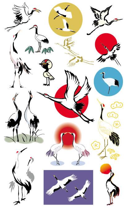 鶴,つる,ツル ベクターイラスト素材