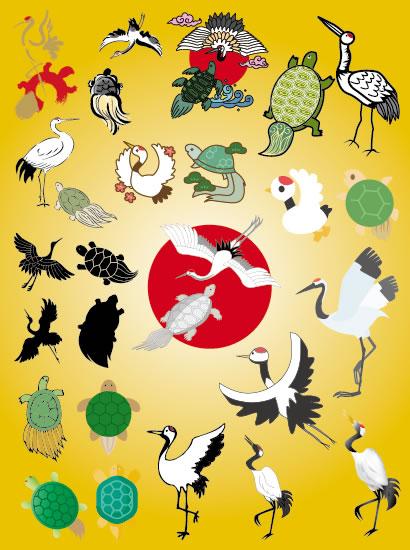 鶴,つる,ツル,亀,かめ,カメ,お正月,年賀状,縁起物 ベクターイラスト素材