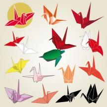 折り鶴,折り紙,鶴,つる,ツル,亀,かめ,カメ,お正月,年賀状,縁起物 ベクターイラスト素材