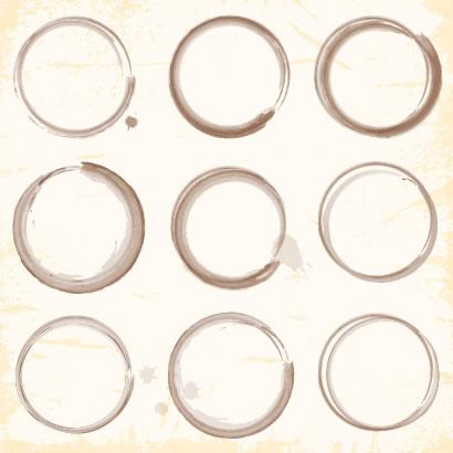 円,サークル,丸,まる,マル,コーヒーの汚れ,年賀状,グランジ風背景 ベクター筆文字