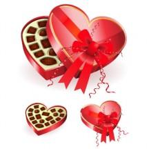バレンタインデー,バレンタインチョコレート,リボン,ハートマーク型箱 ベクターイラスト素材