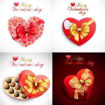 バレンタインデー,バレンタインチョコレート,リボン,ハートマーク型箱,バラの花 ベクターイラスト素材