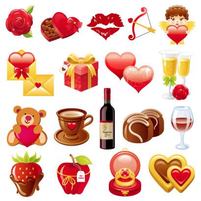 バレンタインデー,バレンタインチョコレート,リボン,ハートマーク型箱,バラの花,キスマーク,弓矢,天使,メール,プレゼント箱,シャンパングラス,クマのぬいぐるみ,コーヒーカップ,ワインボトル,イチゴ,リンゴ,指輪,クッキー ベクターイラスト素材
