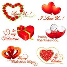 バレンタインデー,ハートマーク型箱,バラの花,風船,ダイヤモンド宝石 ベクターイラスト素材