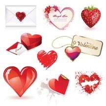 バレンタインデー,ハートマーク型箱,メール,イチゴ,花,タグ,キーホルダー,手描き風 ベクターイラスト素材
