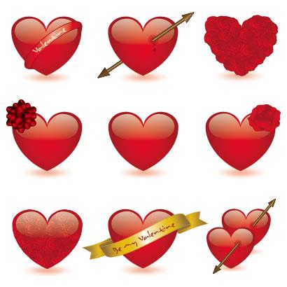 バレンタインデー,ハートマーク型,バラの花,リボン,ハートを射止める矢 ベクターイラスト素材