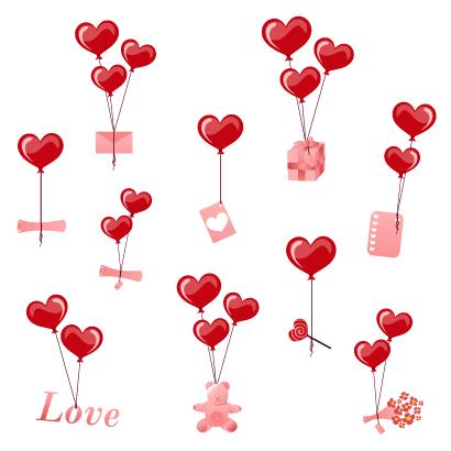 バレンタインデー,ハートマーク型風船,花束,クマのぬいぐるみ,プレゼント箱 ベクターイラスト素材